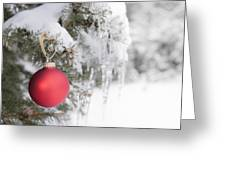 Red Christmas Ornament On Icy Tree Greeting Card