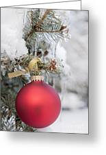 Red Christmas Ornament On Snowy Tree Greeting Card
