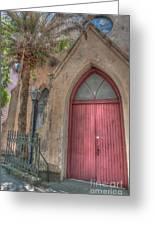 Red Church Door Greeting Card