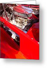 Red Classic Car Engine 2 Greeting Card