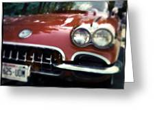 Red Corvette With Trees Greeting Card