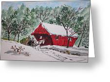 Red Covered Bridge Christmas Greeting Card