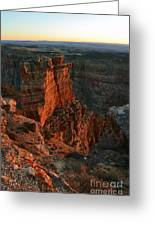 Red Dawn Breaking On Spires In Grand Canyon National Park Vertical Greeting Card
