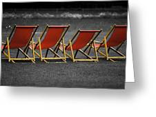 Red Deck Chairs Greeting Card by Mikhail Pankov