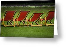 Red Deck Chairs On The Green Lawn Greeting Card