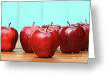 Red Delicious Apples On Old School Desk Greeting Card