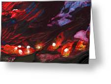 Red Demon With Pearls Greeting Card