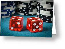 Red Dice And Playing Chips Greeting Card