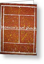 Red Dirt Of A Tennis Court Greeting Card by Monica Art-Shack