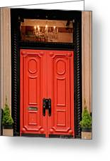 Red Door On New York City Brownstone Greeting Card