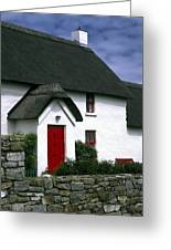 Red Door Thatched Roof Greeting Card