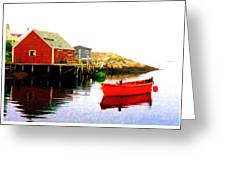 Red Dory At The Mooring Greeting Card