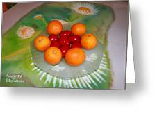 Red Eggs And Oranges Greeting Card