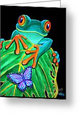 Red-eyed Tree Frog And Butterfly Greeting Card