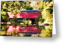 Red Fairhill Covered Bridge Greeting Card
