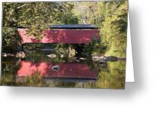 Red Fairhill Covered Bridge Two Greeting Card