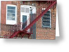 Red Fire Escape Usa I Greeting Card