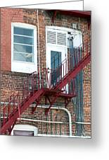 Red Fire Escape Usa II Greeting Card