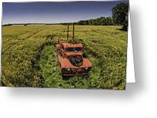 Red Firetruck In The Field Greeting Card