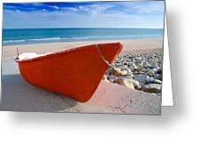 Red Fishing Boat Algarve Portugal Greeting Card