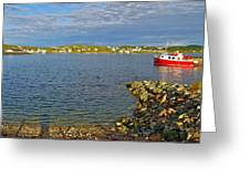 Red Fishing Boat In Twillingate Harbour-nl Greeting Card