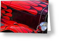 Red Flames Hot Rod Greeting Card by Garry Gay