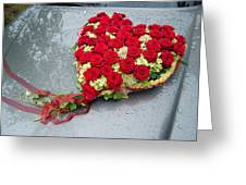 Red Flower Heart With Roses - Beautiful Wedding Flowers Greeting Card