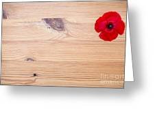 Red Flower On Wood  Greeting Card