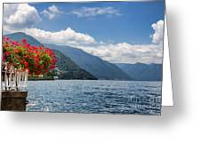 Red Flowers By Lake Como Italy Greeting Card by Anna-Mari West