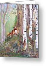 Red Fox And Cardinals Greeting Card