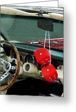 Red Fuzzy Dice In Converible Greeting Card