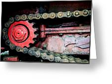 Red Gear Wheel And Chain Of Old Locomotive Greeting Card by Matthias Hauser