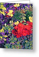Red Geranium With Yellow And Purple Flowers - Vertical Greeting Card