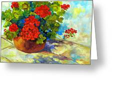 Red Geraniums I Greeting Card