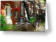 Red Geraniums Verdun Winding Staircases Hanging Flower Basket Montreal Porch Scene Carole Spandau Greeting Card