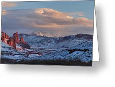Red Glow In A Sea Of White - Panorama Greeting Card