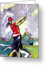 Red Golf Girl Greeting Card
