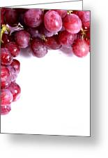 Red Grapes With White Copy Space Greeting Card
