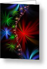 Red Green And Blue Fractal Stars Greeting Card