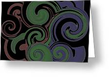 Red Green Blue Swirls Lines Greeting Card