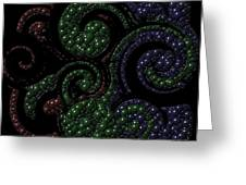 Red Green Blue Swirls Marbles Greeting Card