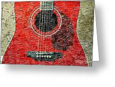 Red Guitar Center - Digital Painting - Music Greeting Card