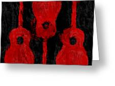 Red Guitars Greeting Card