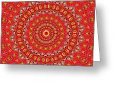 Red Gum Flowers Mandala Greeting Card
