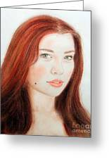 Red Hair And Blue Eyed Beauty With A Beauty Mark Greeting Card