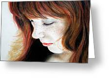 Red Hair And Freckled Beauty II Greeting Card