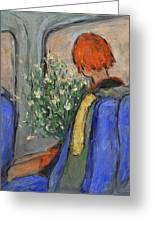 Red-haired Girl On A Sydney Train Greeting Card