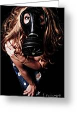 Red Head Gas Mask Greeting Card