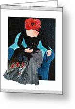 Red Head With Black Cat Greeting Card by Eve Riser Roberts