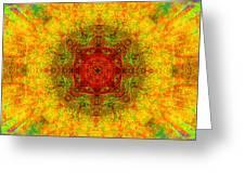 Red Heart Sun Rainbow Mandala Greeting Card